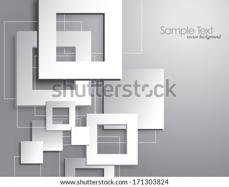Vector Background with Cut Outs. White Squares.