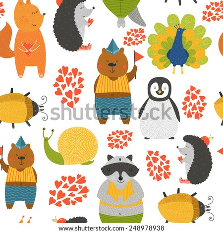 Vector background with cute animals. Cartoon raccoon, snail, penguin, peafowl; squirrel, bear, beetle and hedgehog isolated on white background with love - stock vector