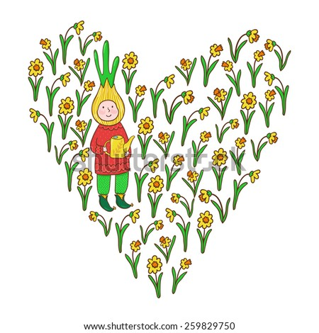 Vector background with cute cartoon characters and heart from daffodils. Bright garden concept. - stock vector