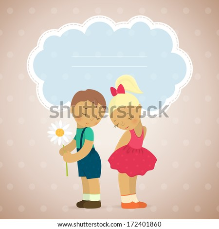 Vector background with cute girl and boy with a cloud for your text. Pretty children for your card. Background with in love young boy and girl. - stock vector