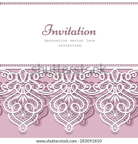 Vector background with cutout lace border ornament, elegant greeting card or wedding invitation template - stock vector