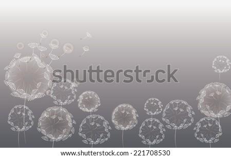 Vector background with dandelion - stock vector