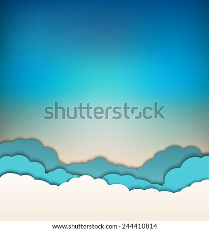 vector background with decoration: sun, blue sky and clouds - stock vector
