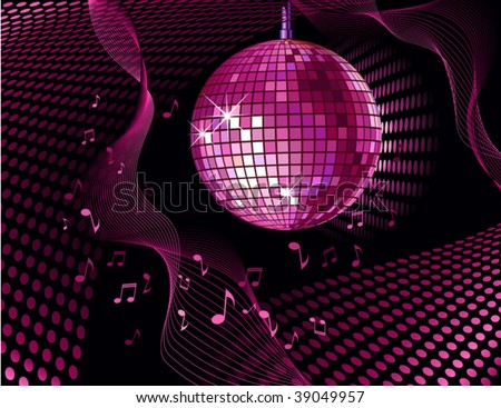 vector background with disco ball and notes - stock vector
