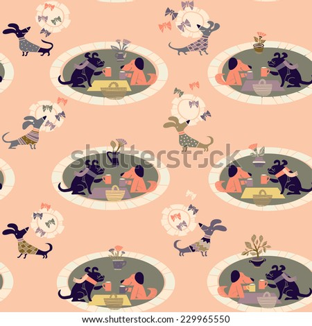 vector  background with dogs on a picnic - stock vector
