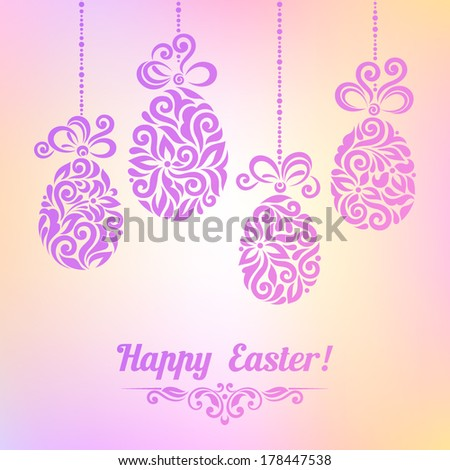 Vector background with Easter decoration for your design. Vintage ornamental eggs on blurry background. Happy Easter greeting card
