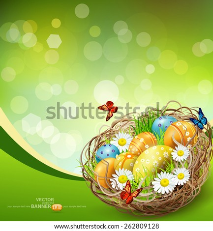 vector background with Easter nest and eggs on spring background with bokeh - stock vector