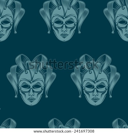 vector background with engraving venetian carnival mask emblem. seamless pattern - stock vector