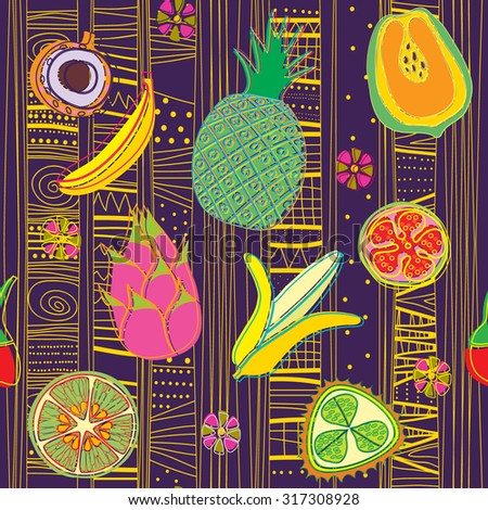 vector background with exotic fruits - stock vector