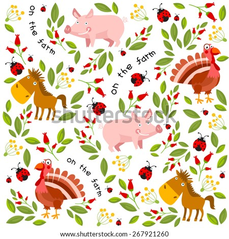 Vector background with farm animals