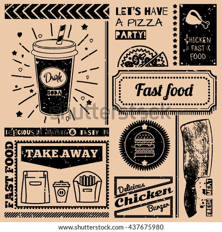 Vector background with fast food symbols. Menu pattern. Vector Illustration with beverage, cheeseburger, knife and lettering on craft paper background. Decorative elements for packing design