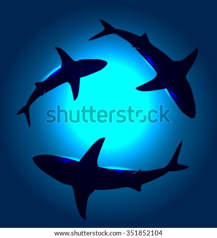 Vector background with floating sharks. - stock vector
