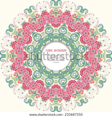 Vector background with floral round pattern in oriental style. Frame for your text. Delicate green and pink. - stock vector