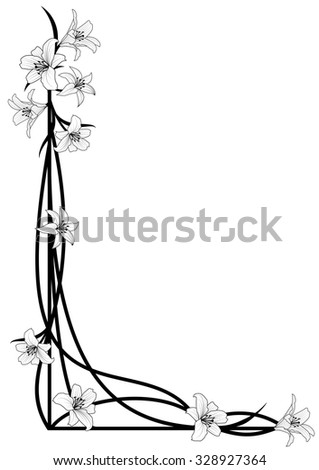 vector background with flowers of lily for corner design - stock vector