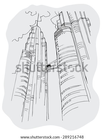 Vector background with freehand drawings of city - stock vector