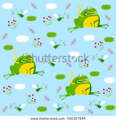 Vector background with frogs