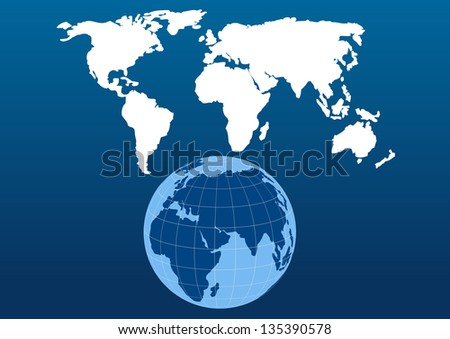 vector background with globe and map of the world
