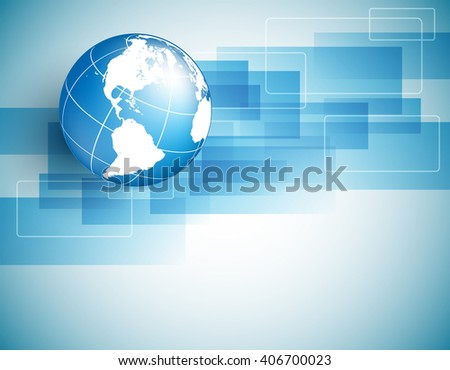 vector background with globe, geometric elements  and copy space. Eps10