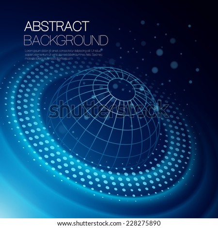 Vector background with glowing space orbit - stock vector