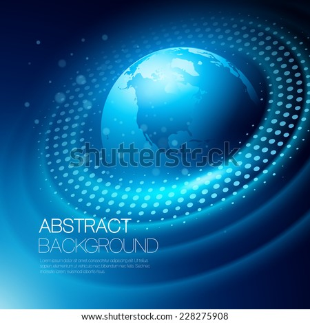 Vector background with glowing space orbit