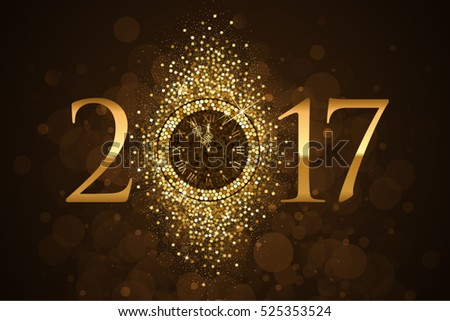 Vector 2017 background with gold clock and glitter