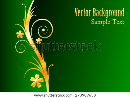 vector background with gold flowers on a green background - stock vector