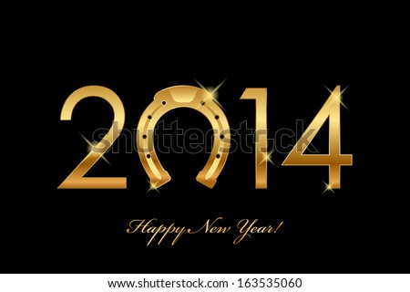 Vector 2014 background with gold horseshoe for good luck (year of the horse) - stock vector