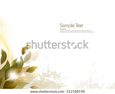 Vector Background with Golden Leaves. - stock vector