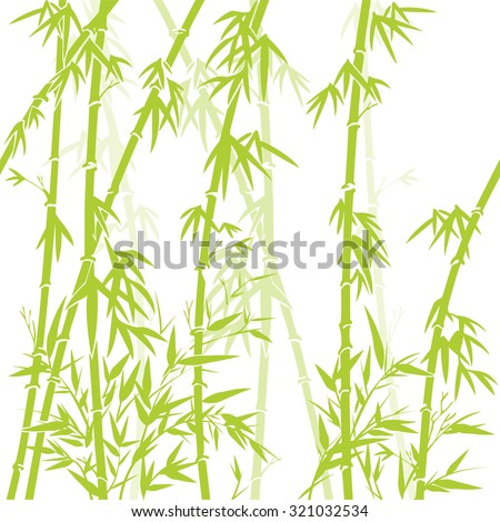 vector background with green bamboo stems (seamless bamboo background, bamboo vector illustration, silhouette of bamboo trees background)