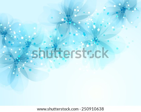 Vector background with green flowers - stock vector