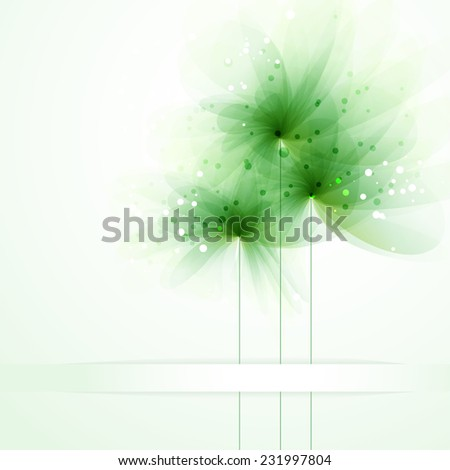 Vector background with green flowers. EPS 10. Contains transparent objects. - stock vector