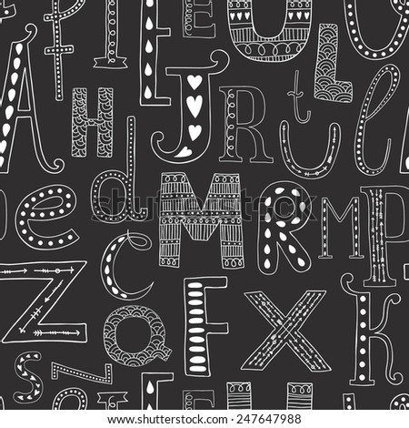 Vector background with hand drawn alphabet, seamless pattern on black background - stock vector