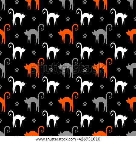 Vector background with hand drawn silhouette with white cats, orange nice kittens and gray paws in seamless pattern - stock vector