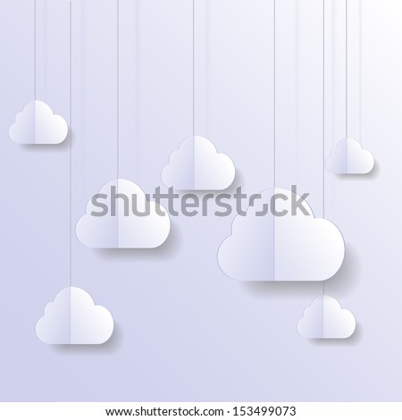 Vector background with hanged clouds