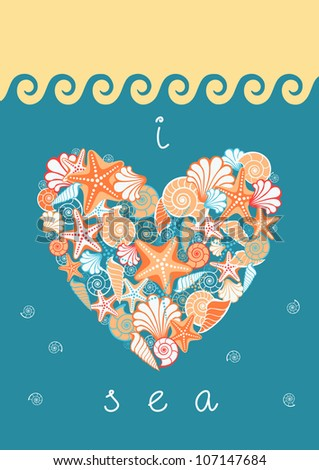 Vector background with heart of seashells and starfishes. Stylized beach, sea, golden sand, lettering in poster. Vintage color abstract illustration with concept of seaside resort, vacation, diving - stock vector