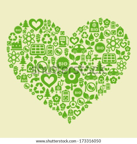 Vector background with heart shape contained from ecology icons - stock vector
