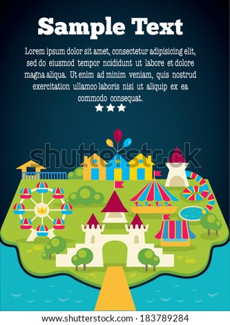 vector background with image of amusement park and place for your text - stock vector