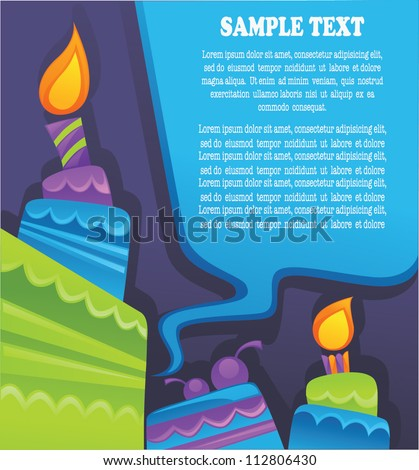 vector background with image of birthday cakes, candle and speech bubbles - stock vector
