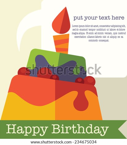 vector background with image of birthday cakes, candle and speech bubbles in flat style - stock vector
