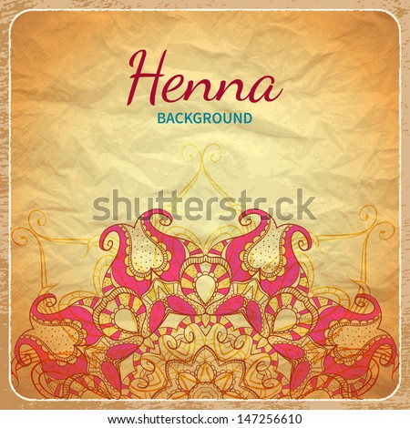 Vector background with indian pattern - stock vector