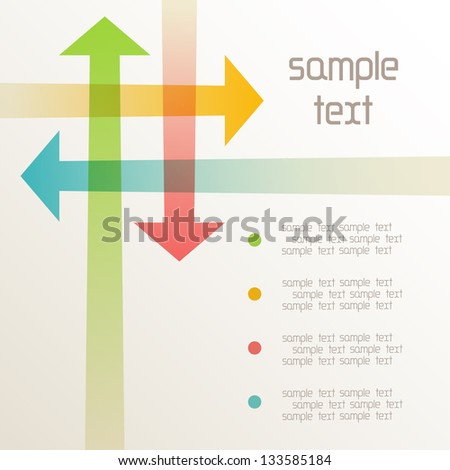 Vector background with intersecting color arrows. Abstract illustration for web, print template with text box. Simple concept of  exchange of information, search for compromise, problem solving - stock vector