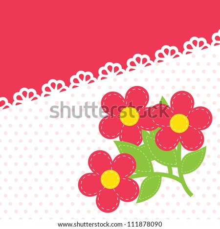 vector background with lace and embroidery - stock vector