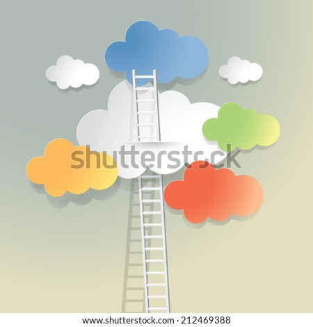 Vector background with ladder and clouds. - stock vector