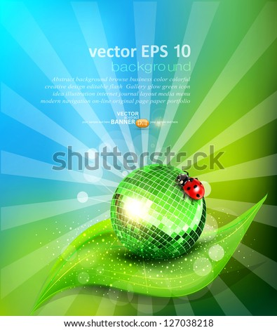 vector background with leaf, mirrored disco ball and a ladybug - stock vector
