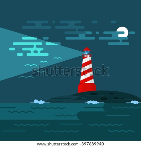 Vector background with lighthouse, sea, waves an night. Searchlight tower in ocean. Dark night and moon in clouds. Birds in the sky. A lighthouse illuminates the sky, birds and clouds at night.  - stock vector