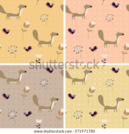 vector background with martens, birds and flowers - stock vector