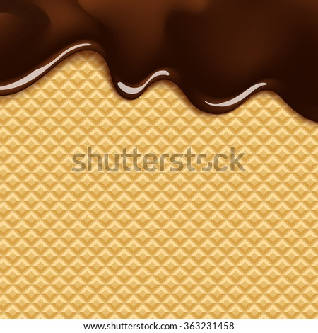 vector background with melting chocolate on wafer - stock vector