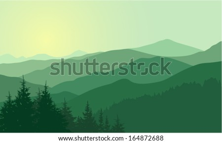 Vector Background with Mountains - stock vector
