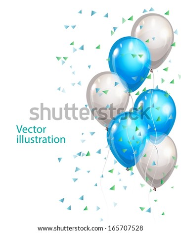 Vector background with multicolored balloons - stock vector