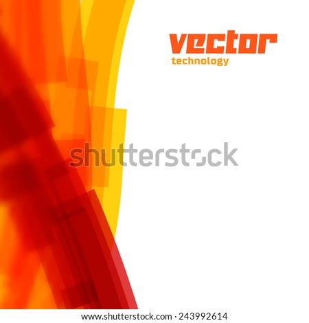 Vector background with orange lines and blurred edge - stock vector